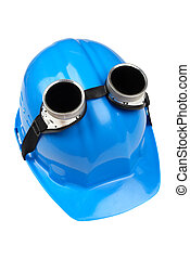 goggles and blue hard-hat - isolated accessory of welder on...
