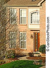 Suburban Brick Home Entry