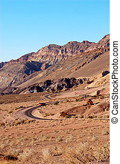 Artists Palette in Death Valley, California - The road...