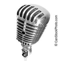 Retro Glamour Microphone With Light Glints +clipping path...