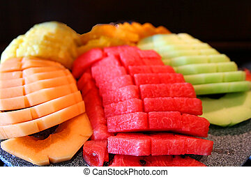 Melon Plate - An array of fresh melons diplayed on a platter