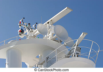 Crows Nest - Top of a cruise ship showing satellite and...