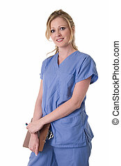 Nurse chart - Attractive friendly smiling blond lady doctor...