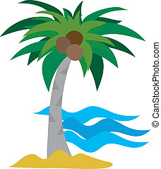 Palm Tree - A single palm tree against an ocean background
