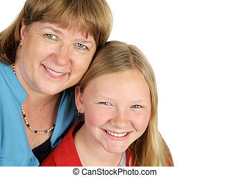 Mother & Daughter Closeup - A closeup of a blond mother and...