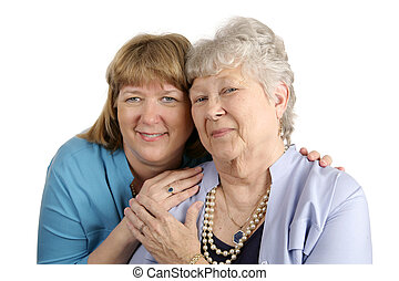 Mother Daughter Affection - A warm loving portrait of an...