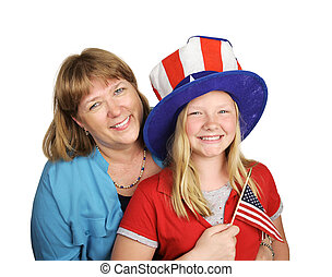 Family Fourth Of July - A mother and daughter celebrating...