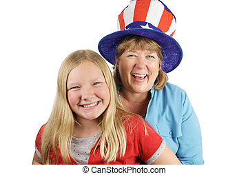 Fourth Of July Fun - A mother and daughter dressed for...