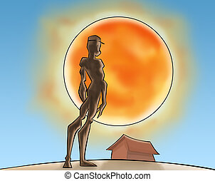 The sun and the boy - A boy stading and watching the...