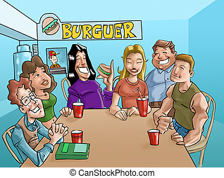 burger teens - a group of teens eating a burgers and...