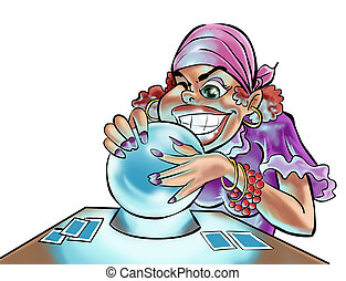 a gypsy woman looking in the crystal ball
