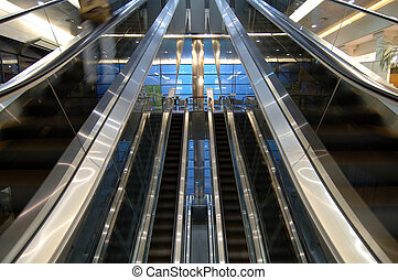 Escalators in airport - The Escalators in the terminal of...