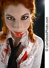 schoolgirl with blood all over - portrait of schoolgirl with...