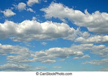 nubes, brillante, azul, día