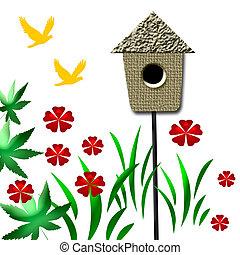 garden birdhouse - birdhouse in the garden with flowers and...