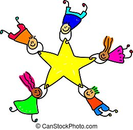 star team - group of diverse children holding onto a giant...