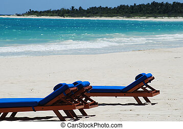 chairs - beautiful caribbean beach