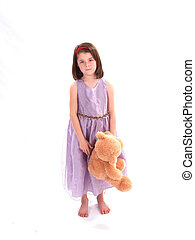 Adorable Girl with Bear - Sweet little girl with a stuffed...