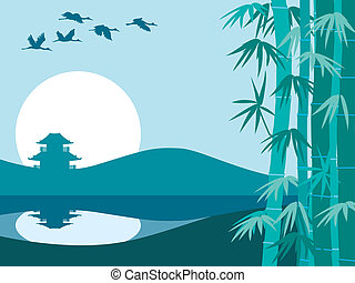 Bamboo, sun and temple - Illustration of bamboo trees,...