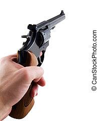 Pistol - Photo of a hand holding a pistol, isolated on white