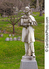 Graves and Monument To Confederate Soldiers Kentucky USA -...