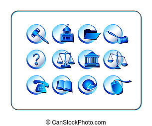 Legal Icon Set - Blue - Legal Icon Set, Blue. Digital...