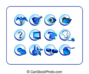 Medical and Pharmacy Icon Set, Blue - Medical Pharmacy Icon...