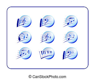 Music Icon Set, Blue - Music Icon Set, blue. Digital...