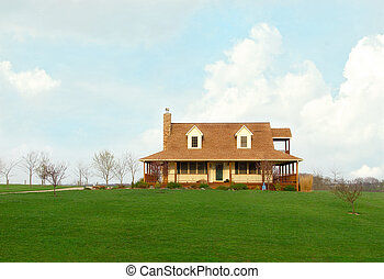 Farmhouse In The Country In Springtime - Typical rural...