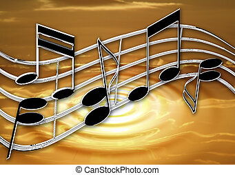 Chrome music ripple sunset - Stylized chrome effect music...