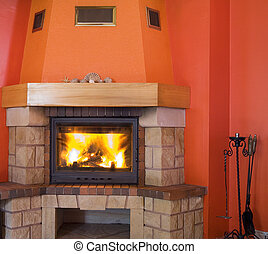 cosy fireplace - red fireplace with a small hell inside