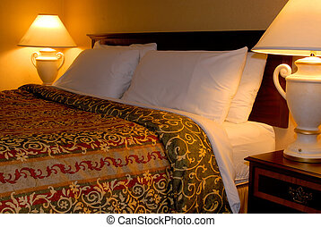 King Bed - Luxury King Bedroom With Two Lamps At Nightime