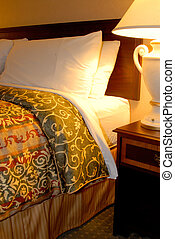 Luxury Bed - King Size Bed With Bedside Table And Lamp