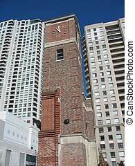old & new - 1940\\\'s firehose tower left standing in the...