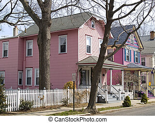 Pink Houses - A couple of victorian style pink homes in...