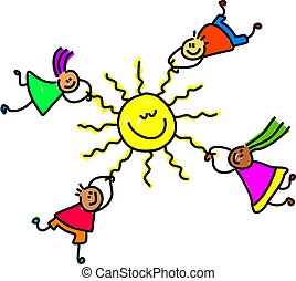 sun kids - group of happy and diverse children holding onto...