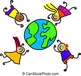 world kids - happy and diverse children circling the world -...