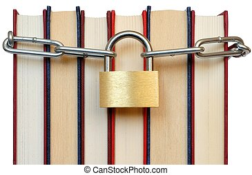 Books and Chain - Isolated books and chain with padlock