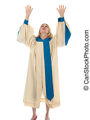 Woman Raising Hands in Praise - Blond woman in a choir robe...