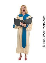 Female Choir Member 4 - Blond woman in a choir robe holding...