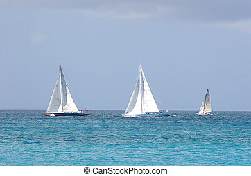 Three Boats - Three sailboats on the horizion in the ocean