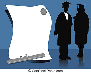 graduates - illustration of two graduates, silhouettes