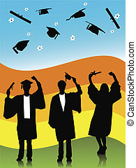 graduates - illustration of graduates, silhouettes