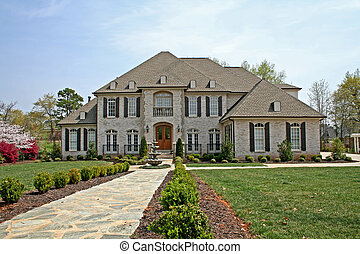 american luxury home in spring