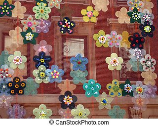 Flowers - flower decals on construction netting