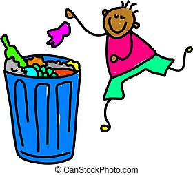 litter boy - happy ethnic boy putting his rubbish in the...