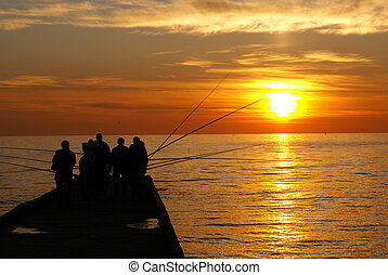 Fishermen - Men on the sea shore near Sochi, Russia