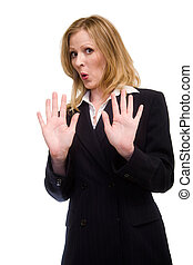 Back up - Attractive blonde woman in professional business...