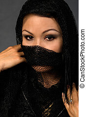 Eyes - Hispanic woman with a black lace shawl over face with...