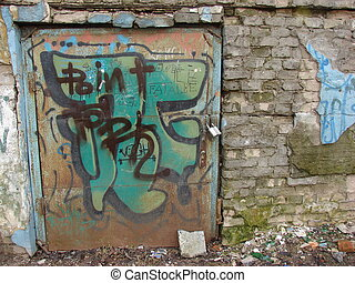 abandoned building - an abandoned building with locked door